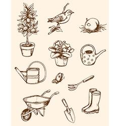 vintage hand drawn garden tools vector image vector image