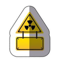 Yellow metal emblem warning radiation notice sign vector