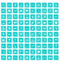 100 victory icons set grunge blue vector image
