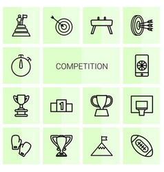 14 competition icons vector