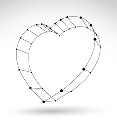3d mesh stylish web monochrome love heart sign vector
