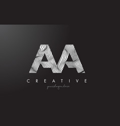 Aa a letter logo with zebra lines texture design vector