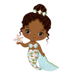 African american cute little mermaid with starfish vector