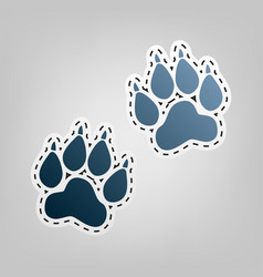Animal tracks sign blue icon with outline vector