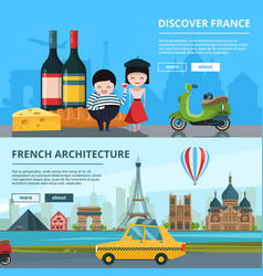 banners set french landmarks vector image