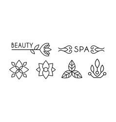 beauty and spa logo design linear label with vector image