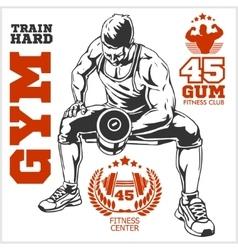 Bodybuilder and Bodybuilding Fitness logos emblems vector