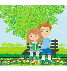 boy and girl reading book vector image