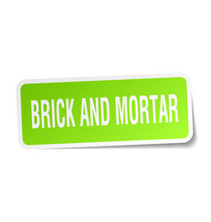 Brick and mortar square sticker on white vector