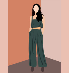 brunette glamorous woman dressed in olive pants vector image