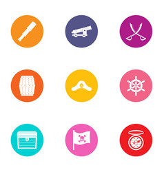 buccaneer icons set flat style vector image