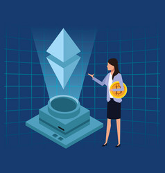 businesswoman with bitcoin vector image