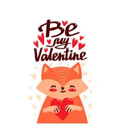 cartoon cute fox with heart vector image