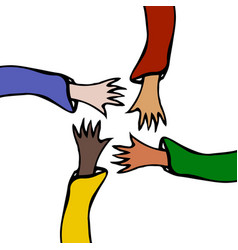 Cartoon hands stretch towards each other arms vector