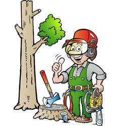 cartoon of a happy working lumberjack or vector image