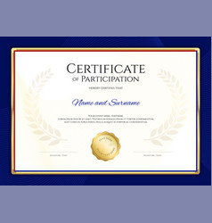 Certificate template in sport theme with blue vector