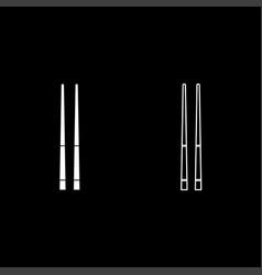 Chinese chopsticks icon set white color flat vector