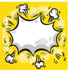 comic speech cloud with smoke explosion and rays vector image