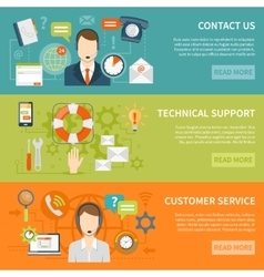 Contact Us Customer Support Banners vector