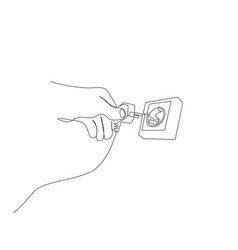 continuous one line hand plugs into a power outlet vector image