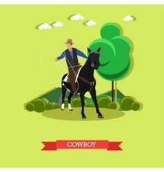 Cowboy on horse with lasso flat design vector