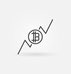cryptocurrency growing graph icon vector image