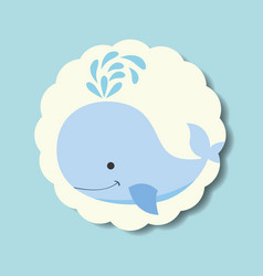 cute blue whale splash water label vector image