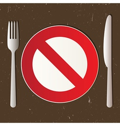 Cutlery and prohibited sign vector