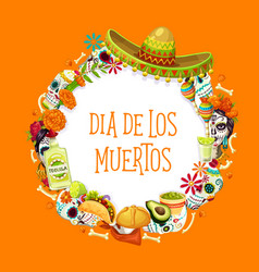 Day dead mexican holiday symbols and lettering vector