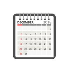 december 2018 calendar calendar notebook page vector image