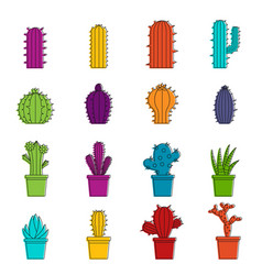 Different cactuses icons doodle set vector