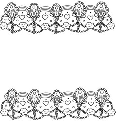 doodle frame with hearts and clouds coloring page vector image