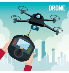 drone with hand hold remote control graphic vector image