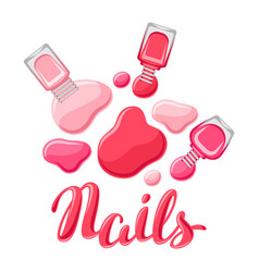 Drops of nail polish and bottles vector