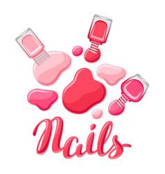 drops of nail polish and bottles vector image