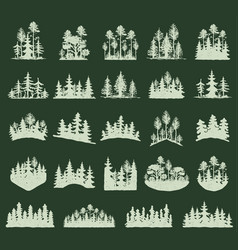 Forest tree silhouette outdoor travel green vector