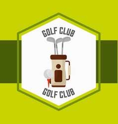 golf bag ball sport competition label vector image
