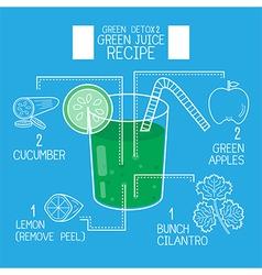 Green juice recipes great detoxifyblue tone vector image