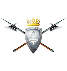 halberds shield and crown vector image