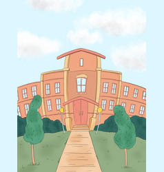 Hand drawn a school building and empty front vector