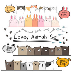 Hand drawn doodle cute animal set vector