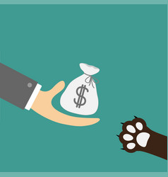 Hand giving money bag with dollar sign dog cat vector