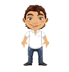 Handsome isolated man in cartoon style vector image