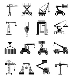 Heavy lifting machines icons set vector