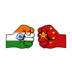 India china confrontation flags fists conflict vector