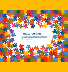 jigsaw puzzle background with many colorful pieces vector image
