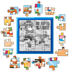 jigsaw puzzle game template kids playing vector image