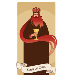 king of cups with crown roses and thorns holding vector image