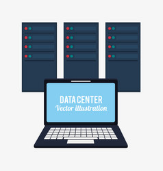Laptop data center system developer vector