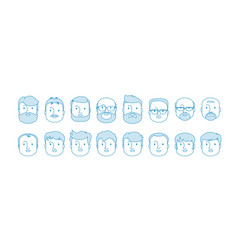 line set people icons male characters vector image